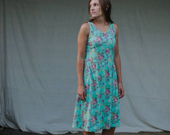 Womens Sundress Cotton Jersey Knit Dress Made in the USA - Made to Order - Gathering Sundress