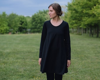 Womens Organic Cotton Jersey Knit Tunic Dress Made in the USA - Handmade to Order - Inspire