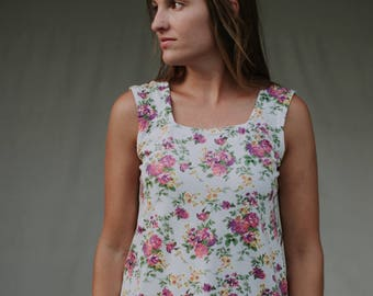 Womens Jersey Knit Tank top  Made in the USA - Made to Order - Rose Square Neckline