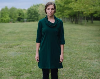 Womens Jersey Knit Cotton Short Sleeve Tunic Dress Made in the USA - Made to Order - Fawn