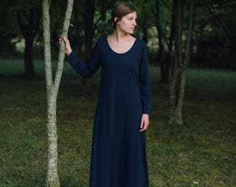 Womens Cotton Maxi Dress Short or Long Sleeve Dress Made to Order in the USA - Mill Creek