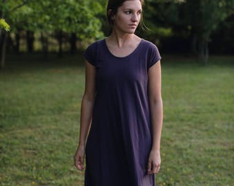 Womens Cotton Jersey Knit Short Sleeve Dress Handmade in the USA - Made to Order - Shift