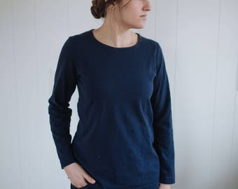Womens Cotton Clothing T Shirt Long Sleeves Made in the USA - Made to Order - Everyday Crew