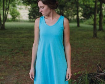 Womens Jersey Knit Cotton Short Sleeve Dress Handmade in the USA - Made to Order - Basics Tank Empire