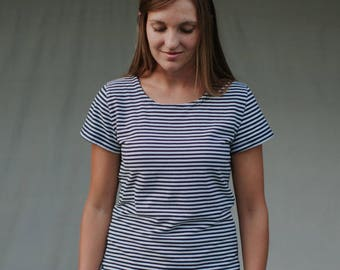 Womens Navy Stripe Jersey Knit Cotton T Shirt Short Sleeves Made in the USA -Made to Order- Everday Stripe