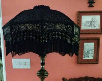Huge Hand Made Victorian Lamp Shade and Etched Brass Floor Lamp