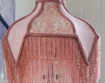 Pink Gooseneck Lamp Shade with Beaded Fringe