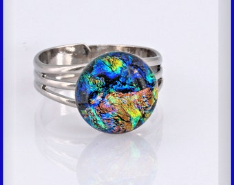 Silver Plated Handmade Ring 7 USA Sparkle Dichloric Glass Ring Ring size Statement Ring Silver Plated Ring Designer Ring