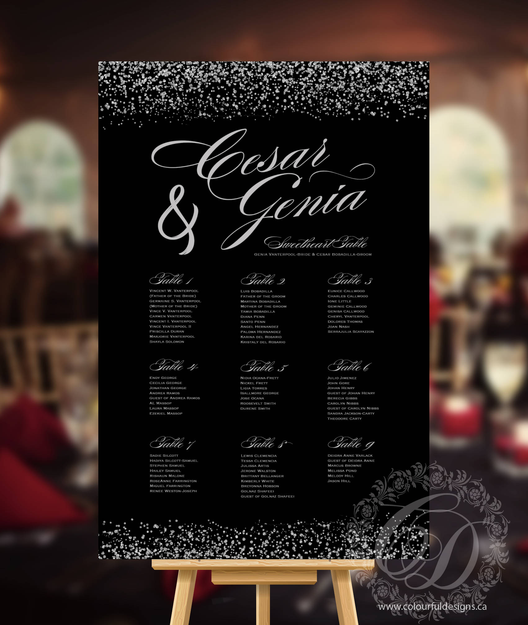 Wedding Seating Chart Or Seating Plan Poster Black And Silver Glitter Confetti Rush Digital File