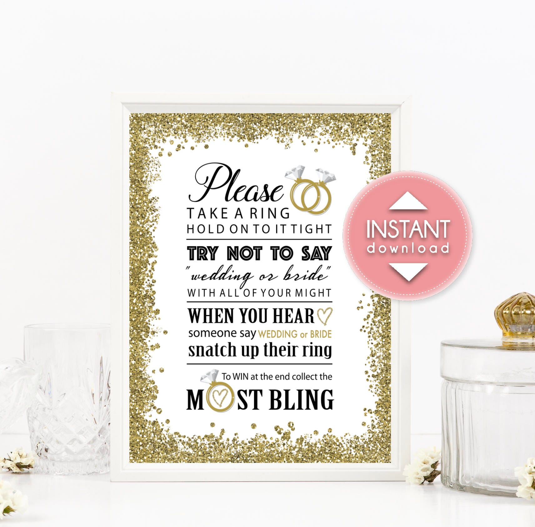 Printable Bridal Shower Ring Game Sign 8x10 Instant