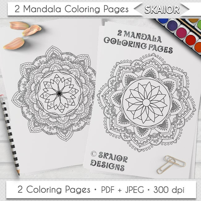 Mandala para colorear relajación de páginas para colorear para | Etsy