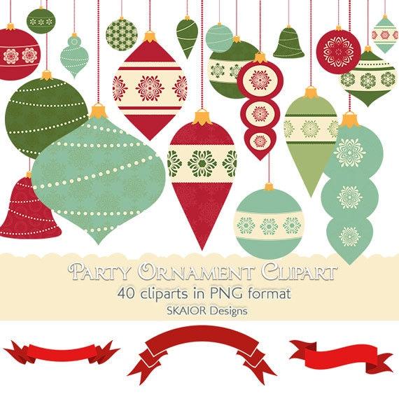 christmas ornaments clipart garlands clipart bauble clip art etsy