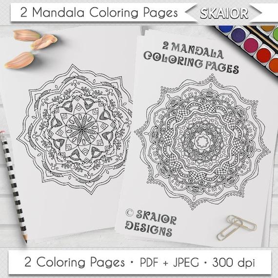 Mandala para colorear relajación de páginas para colorear para   Etsy