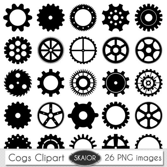 cogs clipart vector cogs clip art steampunk clipart gears clip etsy
