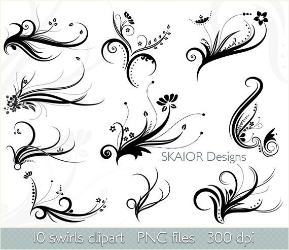 Swirls Clipart Vector Swirls Clip Art Digital Flourish Clipart Etsy