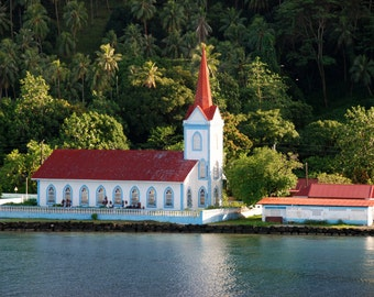 Travel Photography, French Polynesia, Printable Art, Wall Art, Tropical Island Photography, Red Roof, Church Photo, Digital Download Photo