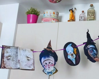 Witches Garland, Horror, fortuneteller, crystal ball, mandrake, mushroom,black cat,Monsters, Spooky Party, halloween decor, ghost, haunted