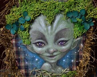 Original painting, fairy, fairies, goblin, drawing, acrylic paint, illustration, original art, fantasy creatures wall decor, magical