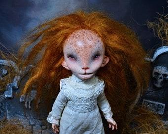 Babette, Nightbreed  - MIDIAN,   wild girl,  Art doll, ooak pure sculpt, redhead, Tribes of the Moon, clive barker, cabal, razas de noche