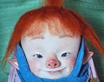 Piglet baby, Changeling, baby goblin, baby pig, fantasy babies, creatures, whimsical, goblin, elf, fairies, art dolls, art toy, pig, piglet