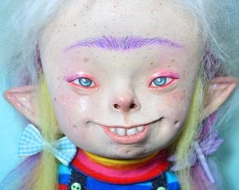 Unicorn, unicorn girl, goblin, fantasy dolls, creatures, whimsical, goblins, elf, fairies, art dolls, unibrow, unicorns, colorful, rainbow