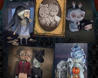 I am here -Set of 5  Halloween Postcards - young monsters art doll brains ghost freaks spooky horror weird creatures pumpkins werewolf