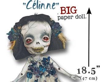 Celinne - BIGGER Paper Doll articulated - skull Halloween doll  - 18.5 inches (47 cm)- katrina skulls halloween props halloween decorations