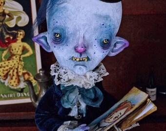 RESERVED!! -EXTRA SALE- Eduardo Grimualdo - art doll, painter, vampire, monster, whimsical, ooak pure sculpt, handmade doll, halloween doll,