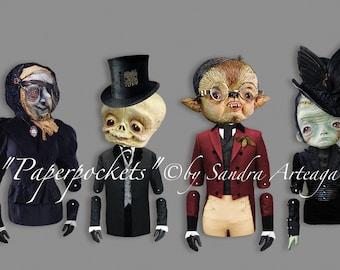 paper dolls digital, pocket monsters paper doll, paper toys, paper crafts, paper dolls download, digital prints, instant download,