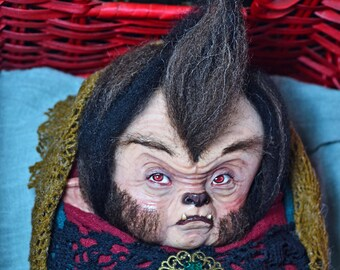 werewolf baby, Changeling, baby monster, baby doll, fantasy babies, shewolf, whimsical, goblin, halloween doll, art dolls, art toy, monsters