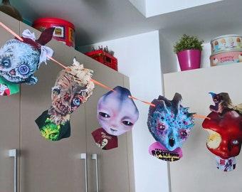 Teenage monsters  Garland, Horror, werewolf, alien, Spooky Party, halloween decor, creepy cut, spookie, scarecrow, creatures, poison apple