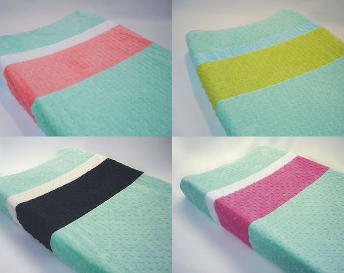 Mint Opal Changing Pad Cover with Stripes