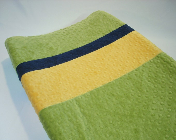 Kiwi Green Changing Pad Cover with Stripes