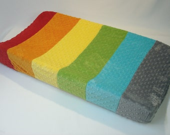 Changing Pad Cover Multi Color Rainbow Stripe