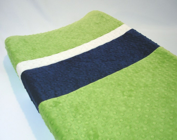 Jade Green Changing Pad Cover with Stripes