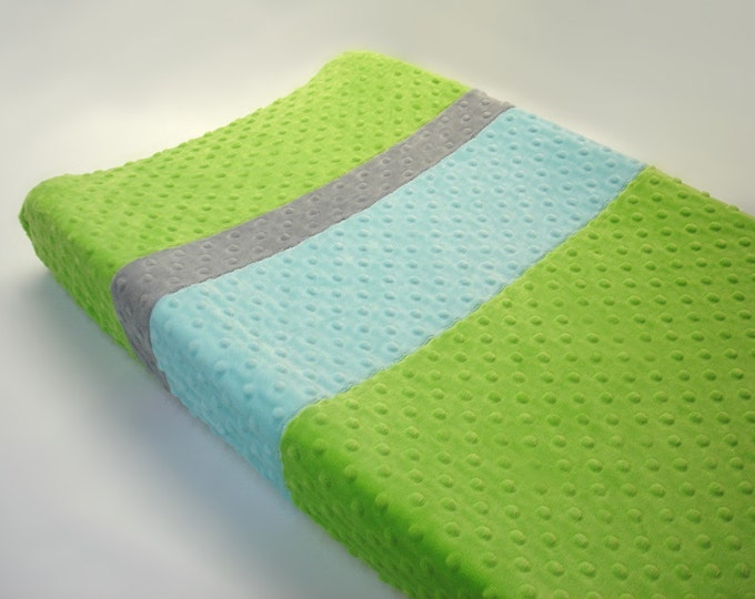 Lime Green Changing Pad Cover with Stripes