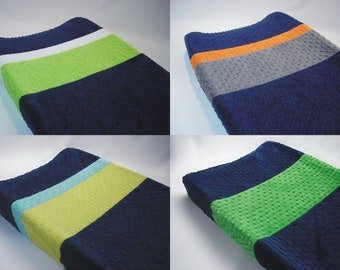 Navy Blue Color Blocked Changing Pad Cover