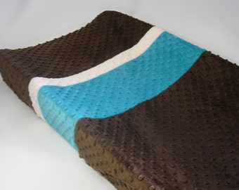 Brown Changing Pad Cover with Blue and White Stripes