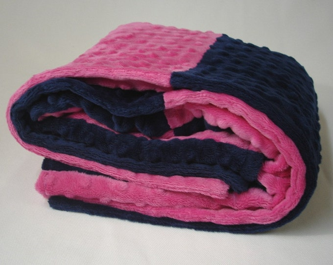 Baby Blanket Pink and Navy Minky