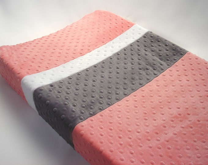 Coral Pink Changing Pad Cover with Stripes