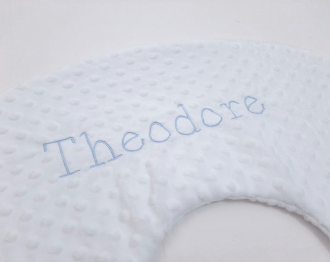 Personalized Embroidered Nursing Pillow Cover Theodore Font