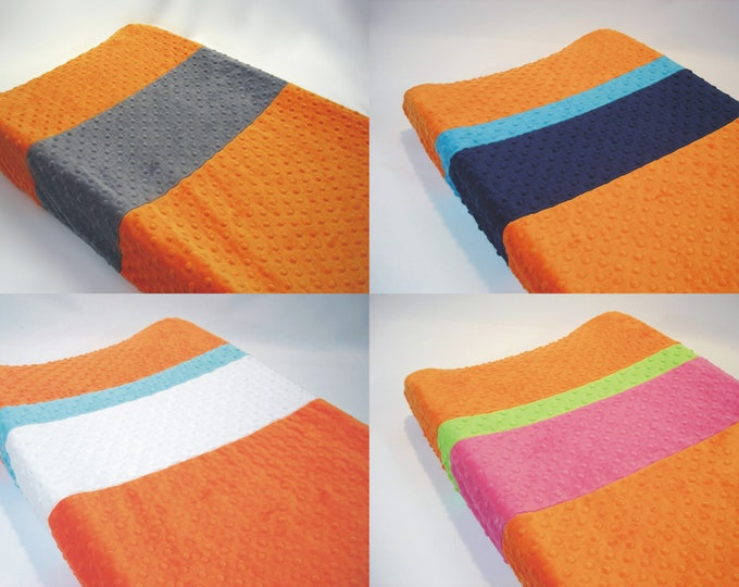 Citrus Orange Changing Pad Cover with Stripes