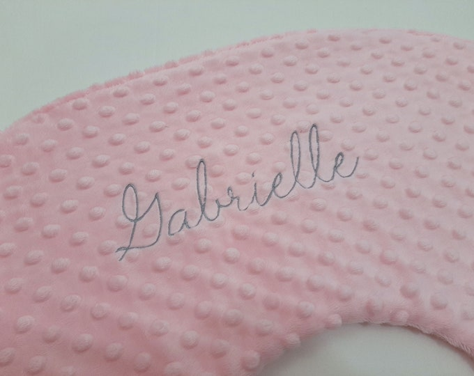 Personalized Embroidered Nursing Pillow Cover Dark Blue Font