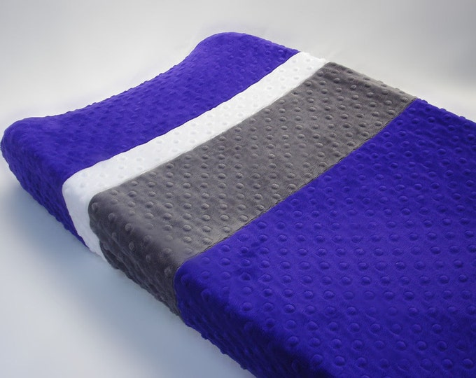 Violet Purple Changing Pad Cover with Stripes