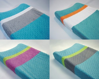 Azure Teal Blue Color Blocked Changing Pad Cover