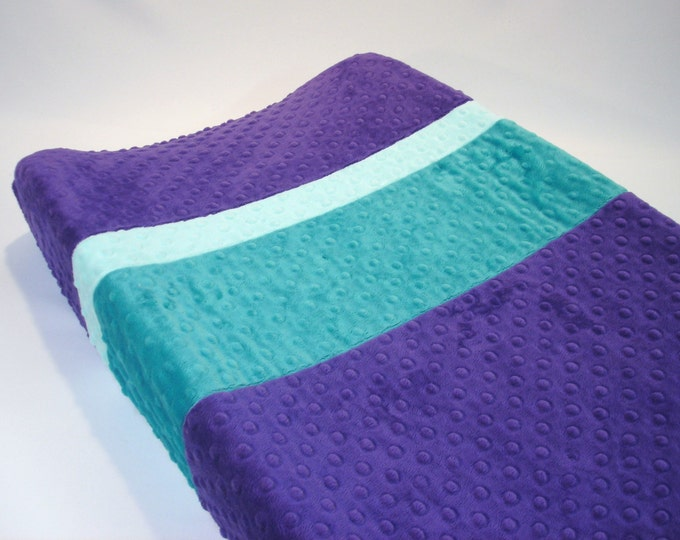 Amethyst Purple Changing Pad Cover with Stripes