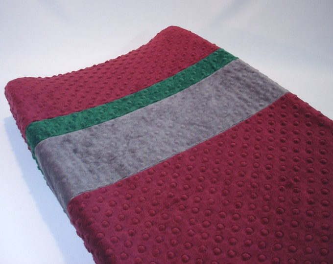 Raisin Maroon Red Changing Pad Cover with Stripes