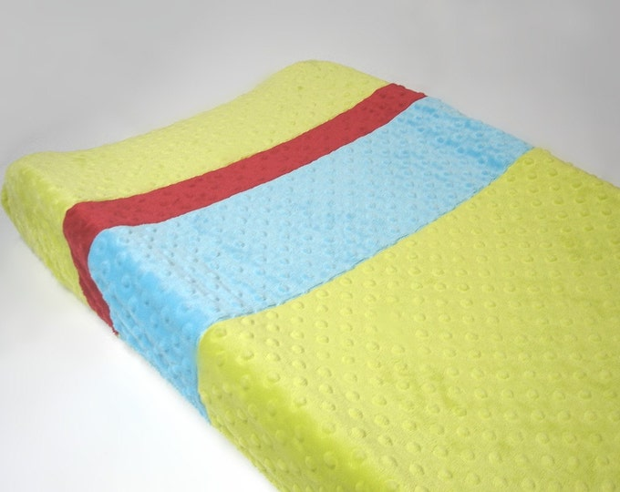 Apple Green Changing Pad Cover with Stripes