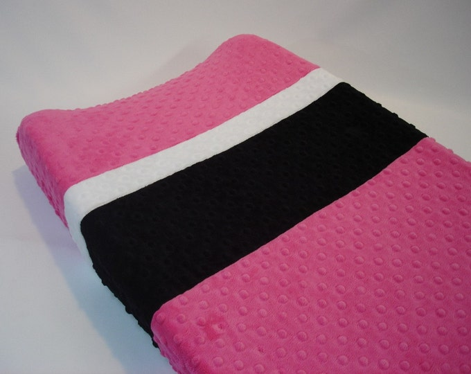 Hot Pink Changing Pad Cover with Stripes