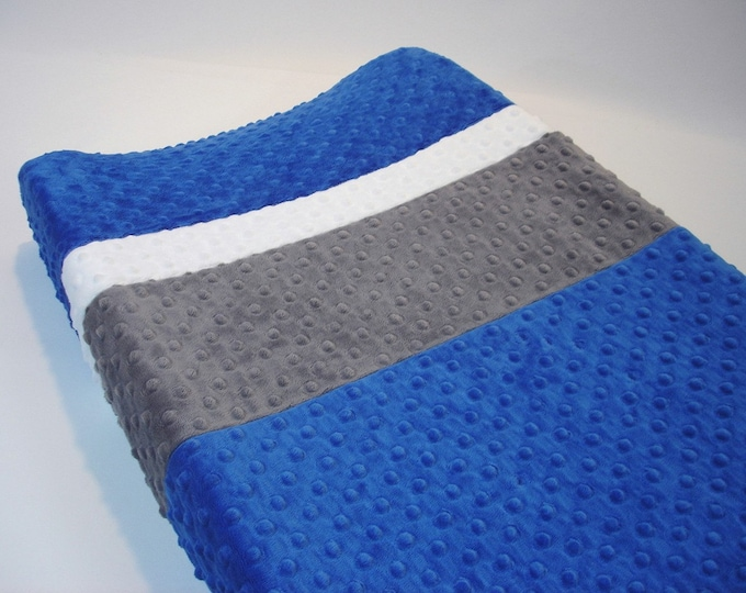 Cobalt Blue Changing Pad Cover with Stripes